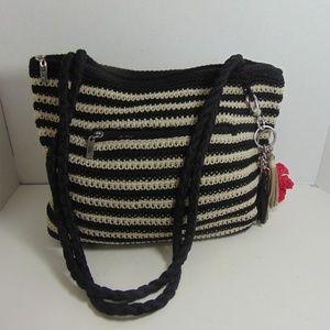 The Sak Handbag Black White Stripe Crochet Bag